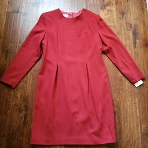 NWT Talbots Red Dress Wool Long Sleeve Lined Sz 16
